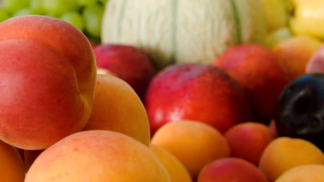 Closeup of ripe juicy apricots video
