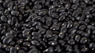 Close-up of rotating black beans. Seamless loopable video