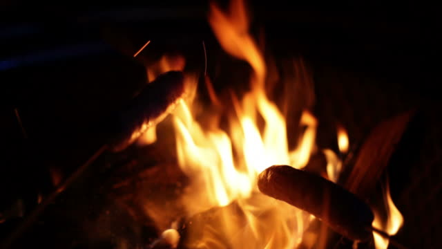 Close-up of sausages being cooked over camp fire video