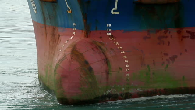 Close-up of ship's bow turning using bowthruster video