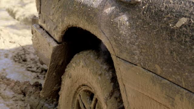 Close-up of smoking SUV wheel. video