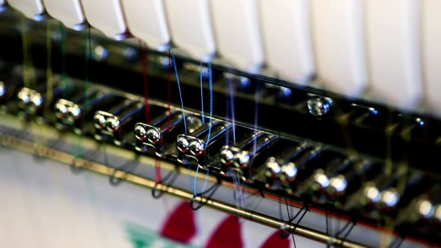 Closeup of Thread in Industrial Sewing Machine video