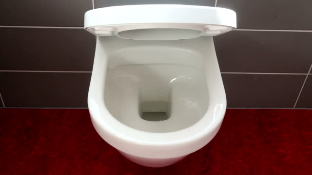 closeup of toilet bowl and lid cover closing automatically video