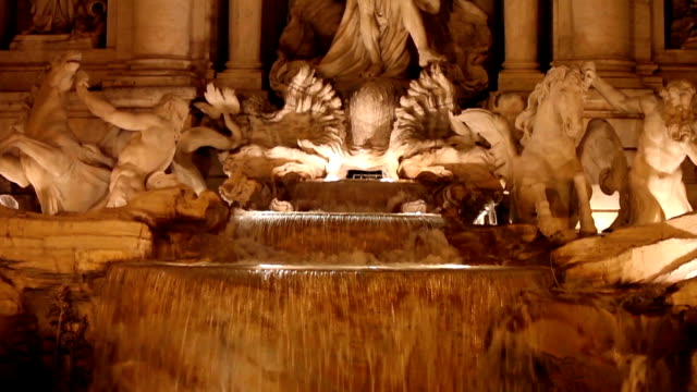 Closeup Of Trevi Fountain By Night video