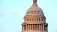 Closeup of United States Capitol building dome, Washington DC video