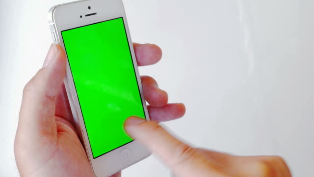 Close-up of Using Cell Phone,Green screen video