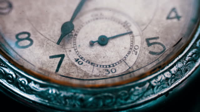 Closeup of vintage clock mechanism working video