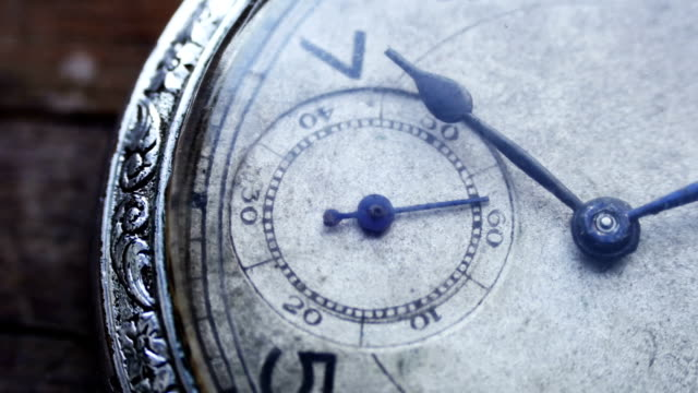 Closeup of vintage pocket clock time going fast video
