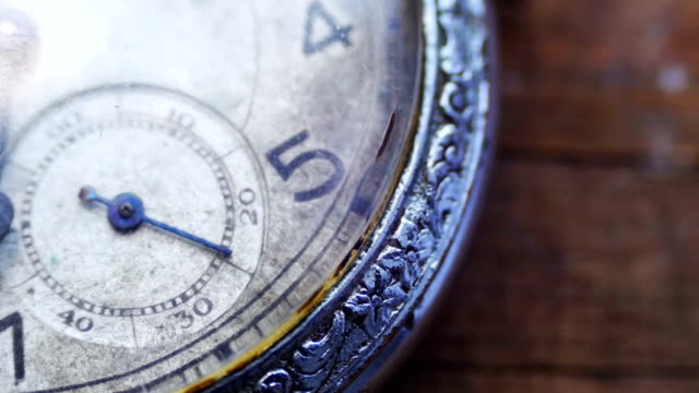 Closeup of vintage pocket clock video