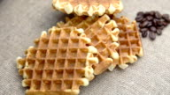 closeup of waffles on coffee beans video