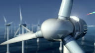 Close-Up of Wind Turbines at Sea #1 video