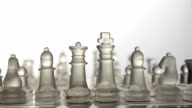 close-up panning: glass chess on a transparent table video