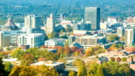 Close-up Panning Over Asheville City Downtown on Sunny Autumn Day video
