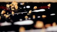 closeup parts of chocolate dessert in a restaurant video