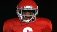 Closeup portrait of football player video