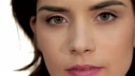 Close-up portrait of woman eye with perfect health skin of face video