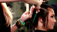 Closeup profile of stylist cutting a young woman's hair video