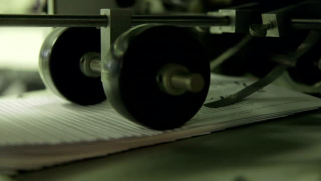 Closeup Rapid Paper Folder in a Print Shop video