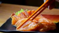 DS:Close-up Serve Salmon Sashimi video