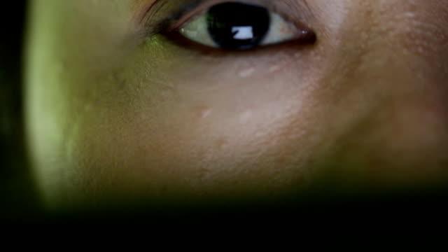 Closeup shot of asian female eye surfing internet video