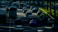 Closeup shot time lapse of highway traffic in the morning rush hour video