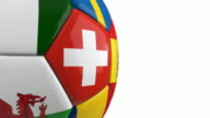 Close-up Soccer Ball with Flags | Loopable - 4K video