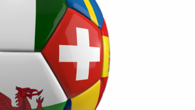 Close-up Soccer Ball with Flags   Loopable - 4K video