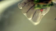 Close-up view of putting canape on reflecting plate video