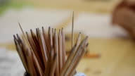 Close-up view of wooden pencils for drawing video