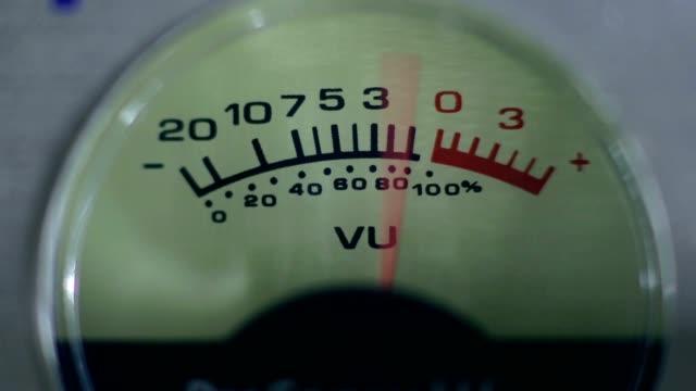 Closeup vintage volume indicator working video