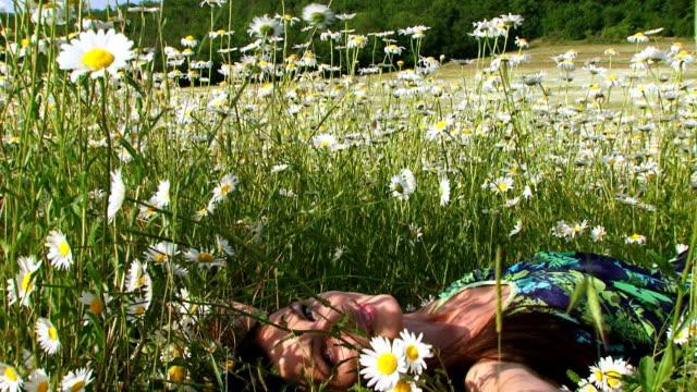 Close-up. Woman among chamomiles video