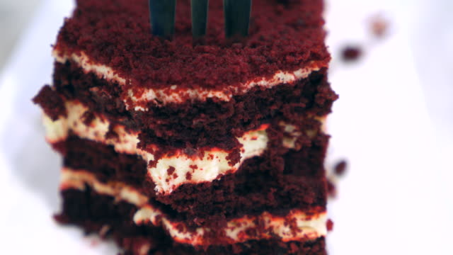 Close-up:Dolly Shot:Eating Chocolate cake video
