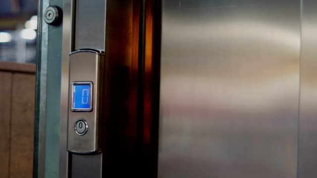 closing elevator door. video