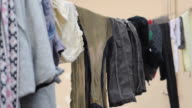 Clothes drying on clothesline video