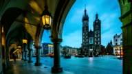 Cloth's Hall and Saint Mary's Church at Market Square in Krakow, Poland video