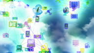 Cloud computing concept background, loopable. video