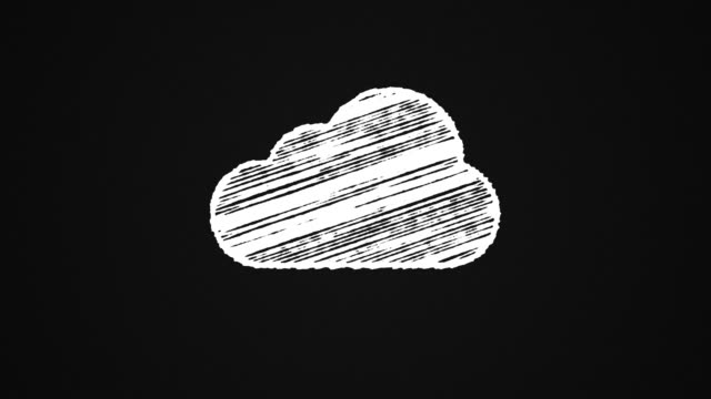 cloud computing icon painted with chalk on a blackboard, hand drawn animation 4K video