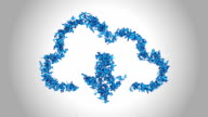 Cloud Computing Symbol made by Blue Butterflies - Alpha video