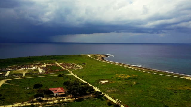 cloud landscape in a resort town. sea, vacation, mountains Cyprus. Paphos. moody seascape before the storm. video