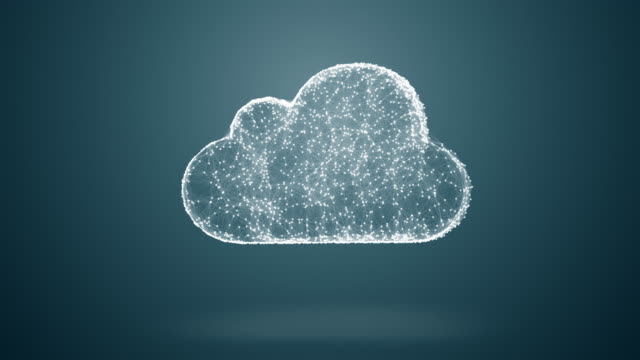 cloud storage from dots an lines slow moving, network conception from a plurality of hosts and communications 4K video