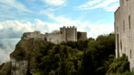 Clouds above Erice, old castle on the hill. video