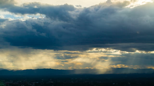 Clouds and Rainy Stormy Night with Sun Rays video