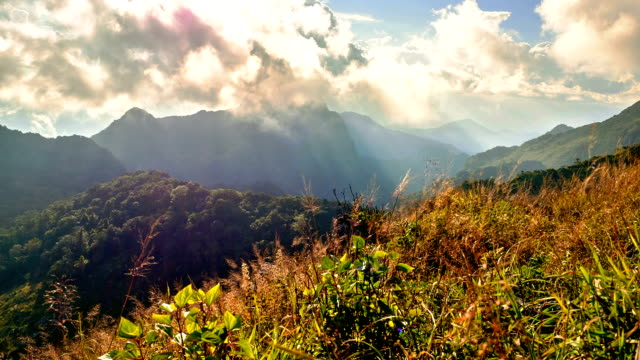 Clouds and sunbeam over Chiang Dao big mountain, where is one of the famous mountains in Chiang Mai, Thailand. video