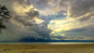 Clouds and sunbeams on Kwan Phayao Lake,Time Lapse video