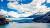 Clouds flow over  the Gray Glacier at Gray Lake video
