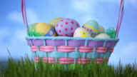 Clouds move by Easter basket sitting in grass video
