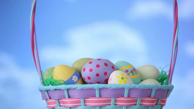 Clouds move by Easter basket video