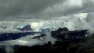 Clouds Moving Over Dolomites Mountains PAN TL video