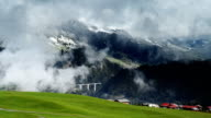 clouds over hills In Leysin valley video