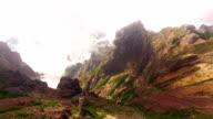 Clouds over Pico do Arieiro, Madeira aerial view video